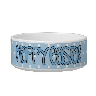 Happy Easter blue Bowl Cat Water Bowl