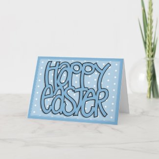 Happy Easter blue dot Card card