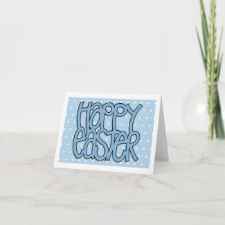 Happy Easter blue dot Note Card card