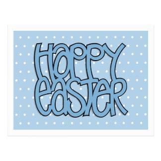 Happy Easter blue dot Postcard
