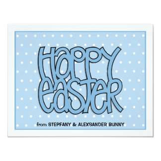 Happy Easter blue flat Easter Note Card