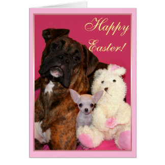 Happy Easter Boxer and Chihuahua greeting card