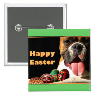 Happy Easter Boxer Dog button