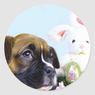 Happy Easter Boxer puppy stickers