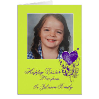 Happy Easter bright green purple heart photo gift Card