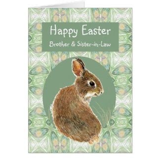 Happy Easter Brother & Sister-in-Law Bunny Rabbit Card