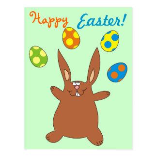 Happy Easter Brown Bunny Juggling Easter Eggs Postcard