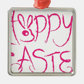 Happy Easter Brush Strokes Grunge Text Metal Ornament