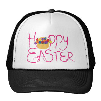 Happy Easter Brush Text with Tulips Trucker Hat