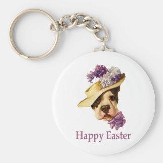 Happy Easter Bulldog Keychain