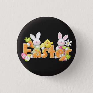 Happy Easter bunnies and chick background Pinback Button