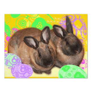 Happy Easter Bunnies and Easter Eggs Custom Announcements