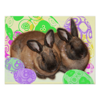 Happy Easter Bunnies and Easter Eggs Print