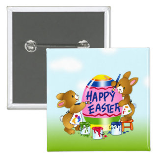 Happy Easter Bunnies decorating eggs Pinback Button