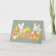 Happy Easter Bunnies Holiday Card