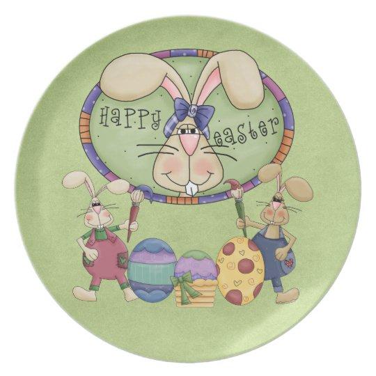 Happy Easter Bunnies Melamine Plate