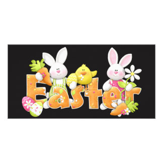 Happy Easter Bunnies with chick background Card
