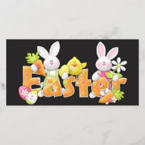 Happy Easter Bunnies with chick background Holiday Card