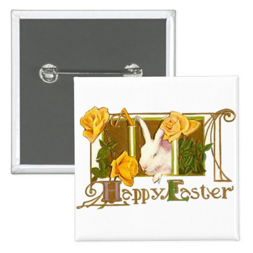 Happy Easter Bunny 2 Inch Square Button
