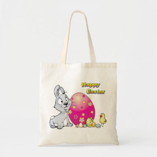 Happy Easter Bunny and Baby Chick Canvas Bags