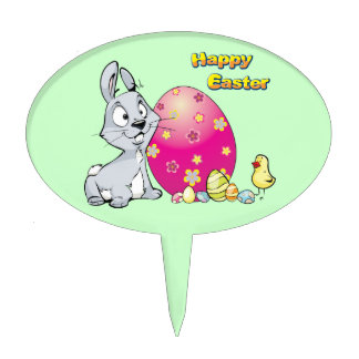Happy Easter Bunny and Baby Chick Cake Picks