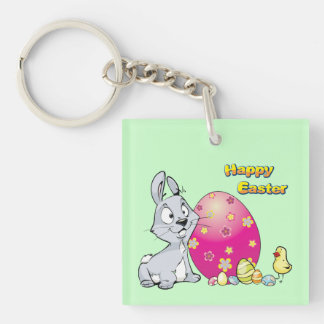 Happy Easter Bunny and Baby Chick Keychain