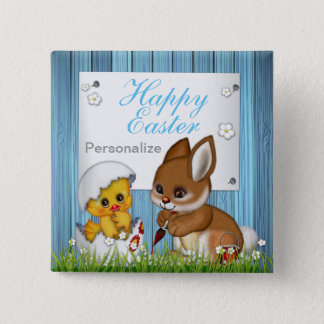 Happy Easter Bunny and Baby Chick Pinback Button