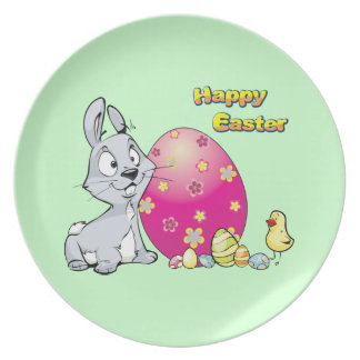 Happy Easter Bunny and Baby Chick Party Plate