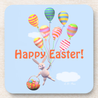 Happy Easter Bunny and Balloons Drink Coaster