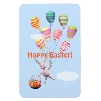 Happy Easter Bunny and Balloons Magnet