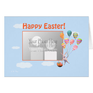 Happy Easter Bunny and Balloons (photo frame) Card