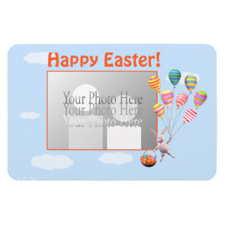 Happy Easter Bunny and Balloons (photo frame) Magnet