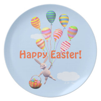 Happy Easter Bunny and Balloons Plates