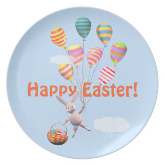 Happy Easter Bunny and Balloons Dinner Plate