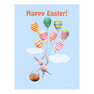Happy Easter Bunny and Balloons Postcard