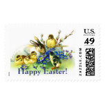 Happy Easter Bunny and Chicks Postage Stamp