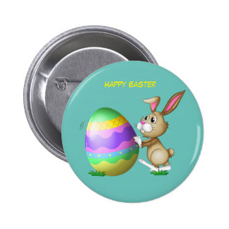 Happy Easter Bunny and Colored Egg Button
