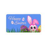Happy Easter Bunny and Eggs in Grass Medium Labels Personalized Address Label