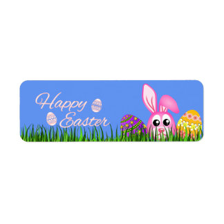 Happy Easter Bunny and Eggs in Grass Small Labels