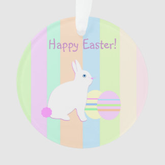 Happy Easter Bunny and Eggs on Stripes