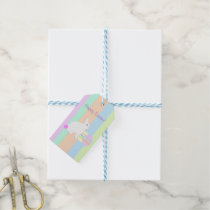 Happy Easter Bunny and Eggs on Stripes Gift Tags