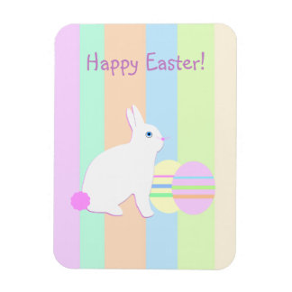 Happy Easter Bunny and Eggs on Stripes Rectangular Magnets