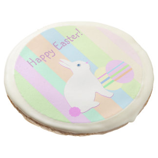Happy Easter Bunny and Eggs on Stripes Sugar Cookie