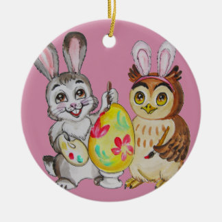 Happy Easter Bunny and Owl painting egg Ceramic Ornament