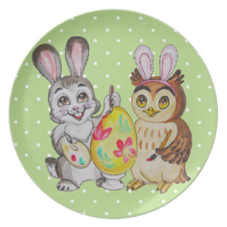 Happy Easter Bunny and Owl painting egg Plate