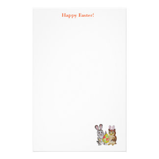 Happy Easter Bunny and Owl painting egg Stationery