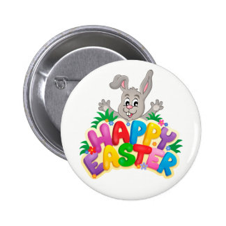 Happy Easter Bunny and text Button