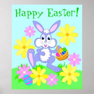 Happy Easter Bunny Cartoon Rabbit Flowers Poster