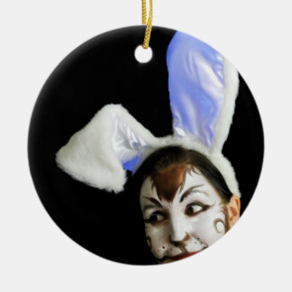 Happy Easter Bunny Ceramic Ornament