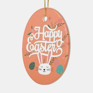 Happy Easter Bunny Ceramic Ornament